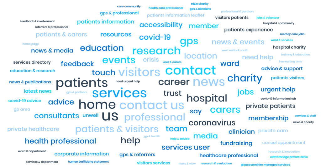A word cloud showing the popular main menu items from NHS Provider websites.