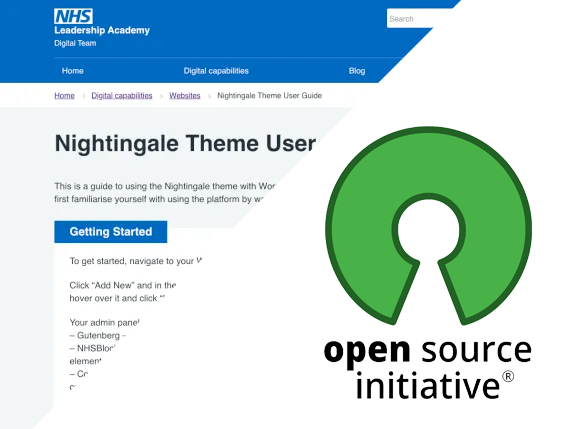 Open Source Initiative logo over the Nightingale WordPress theme screenshot
